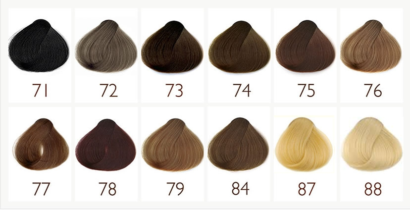 Hair Dye Sample Chart